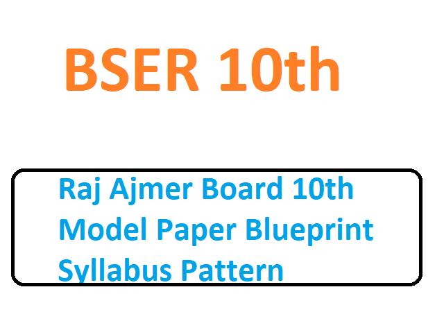 Raj Ajmer Board 10th Model Paper Blueprint Syllabus Pattern