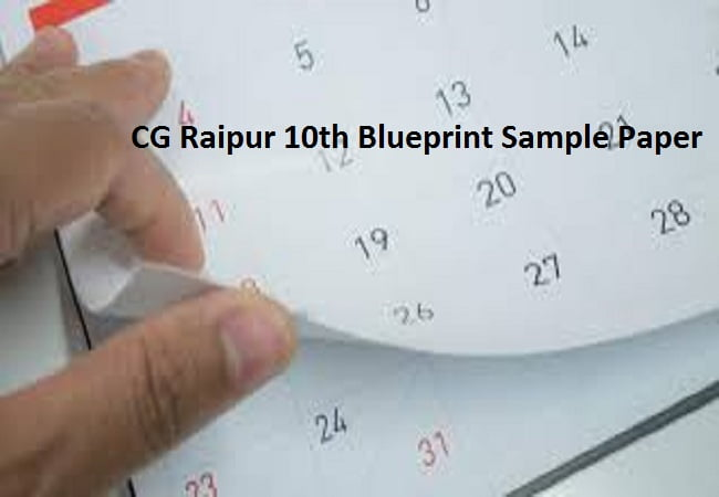 CG Raipur 10th Blueprint Sample Paper 2020