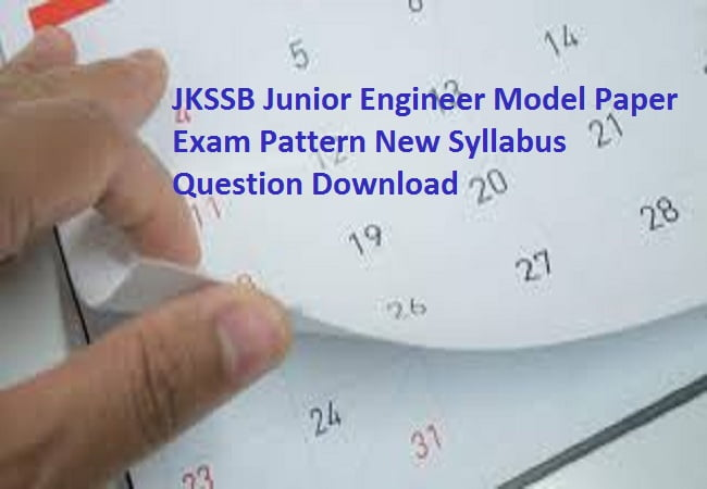 JKSSB Junior Engineer Model Paper 2019 Exam Pattern New Syllabus Question Download